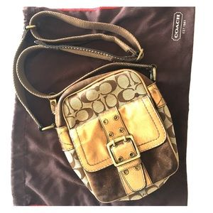 Coach crossbody bag in gold and brown